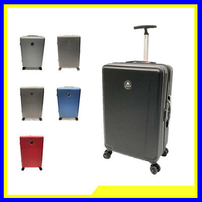 Set 2 Valigie Trolley Rigide In Abs Trolley Grande E Bagaglio A Mano  4 Ruote