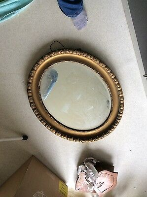 Antique / Vintage Oval Chunky Ornate Gold Gilt and Gesso Mirror, Large, Bevelled