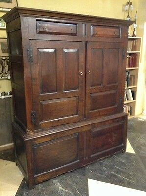 Rare 17th Early 18th Century Linen Press Cupboard Wardrobe Oak Rsd Pnl H Hinges