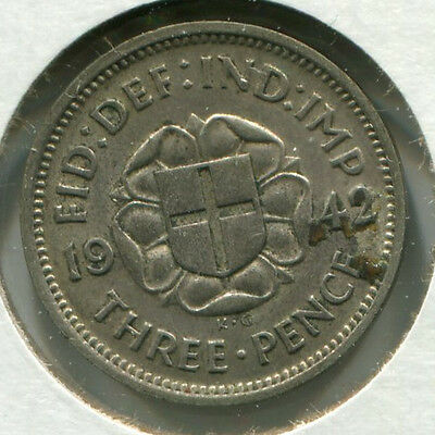 Great Britain Silver Threepence [3-Pence] 1942