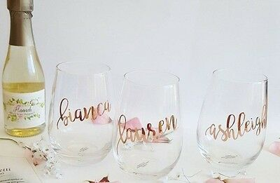 DIY Bridal Party Wine Glass Sticker/Decal - all lowercase letters