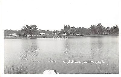 A77/ Wellston Michigan Real Photo RPPC Postcard c1950s Crystal Lake View 3