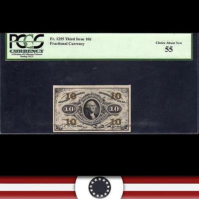 Third Issue 10c Fractional Currency  GREEN REVERSE  PCGS 55  Fr 1255
