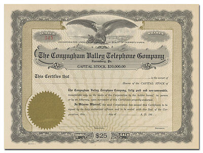 Conyngham Valley Telephone Company Stock Certificate