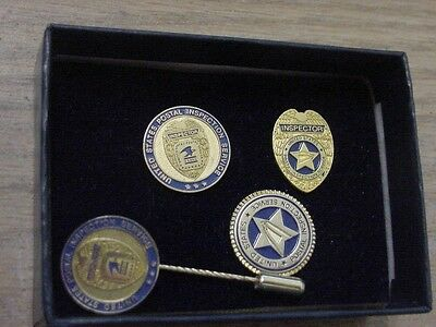 vintage united states postal inspector 3 lapel pins + stick pin