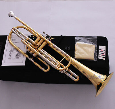 Professional Golden JINBAO Bb Bass Trumpet Horn 3 Piston Cupronickel Tuning Pipe
