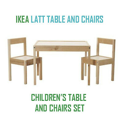 New IKEA LAT Children's Table and 2 Chairs Wooden Pine Wood Kids Furniture Set