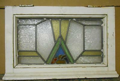 "OLD ENGLISH LEADED STAINED GLASS WINDOW Pretty Abstract Design 23.75"" x 15.25"""