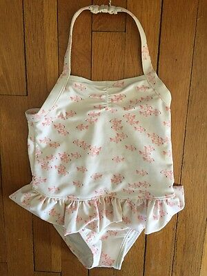 Old Navy Toddler Girls Swimsuit 2T White With Pink Fish