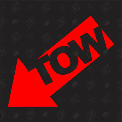 TOW (left) - Tuning Sticker, Low, Racing Sticker, Towing eye Arrow