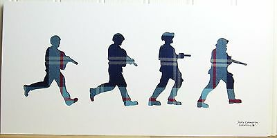 Four Soldiers In Help For Heroes Tartan Fabric Silhouette Picture 3389