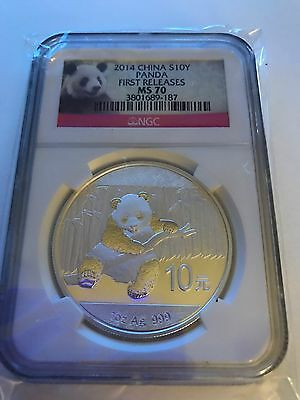 2014 China 1oz Silver Panda  MS70 S10Y Early Releases