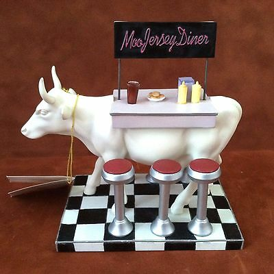 COW PARADE ~ # 9136 ~ MOO JERSEY DINER ~ #'d LE Westland 2001 Figurine ~ Retired