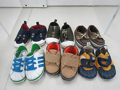 Lot Of 6 Pairs of Boy Baby Shoes Sz 3 Months to Size 2  h708j