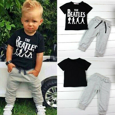 Toddler Boys Kids Short Sleeve Tee Shirts Tops Pants Jogging Outfit Clothes Set