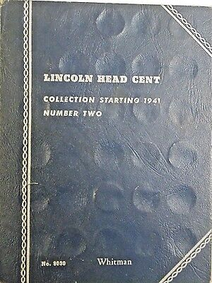 1941 - 1974 PARTIAL LINCOLN CENT COIN SET OF COPPER PENNIES Whitman Book