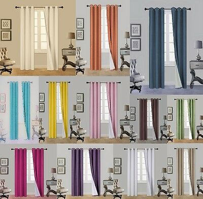 1 Set N32 Insulated Lined Foam Blackout Silver Grommet Window Curtain Panels
