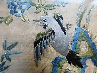 Framed Antique Embroidered Chinese Silk Panel