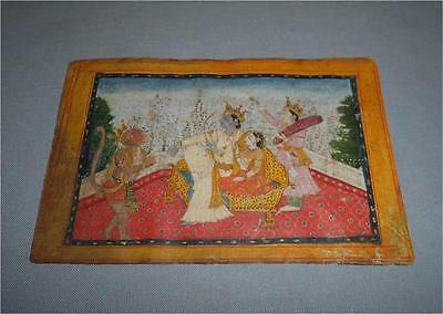 Antique India TOP HIGH AGED ORIGINAL FOLIO MINIATURE PAINTING WITH GOLD