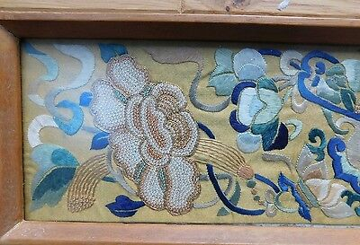 Embroidered Anique Chinese Silk Panel with frame