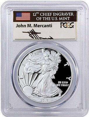 2017-W Proof Silver Eagle PCGS PR70 MERCANTI Signed First Day of Issue 1 of 1500