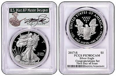 2017-S Proof Silver Eagle PCGS PR70 THOMAS CLEVELAND FIRST DAY OF ISSUE Green
