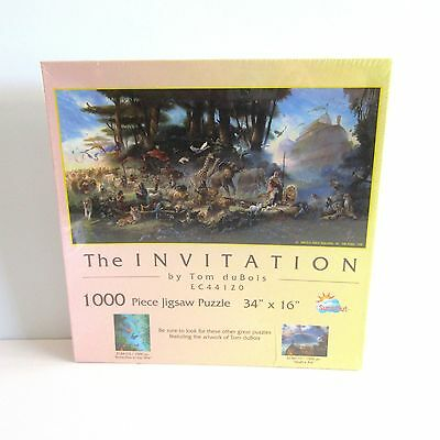 The Invitation 1000 Piece Jigsaw Puzzle Tom duBois Noah's Ark New 34 in x 16 in