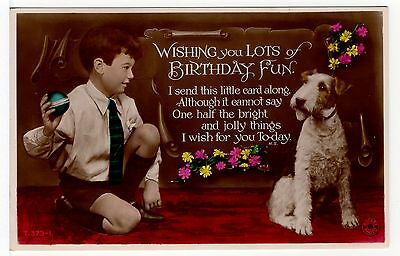 Wire Fox Terrier And Small Boy On Old Birthday Greetings Dog Postcard