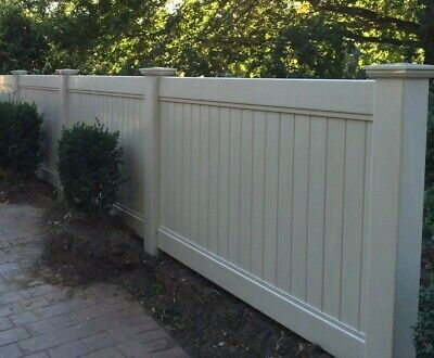 PVC  Fencing -Full Privacy - 6 ft X  8 ft wide Beige Plastic Fence panel Set
