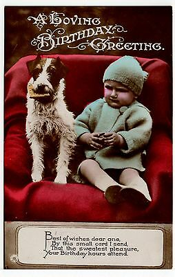 Wire Fox Terrier And Baby Boy On Old Birthday Greetings Dog Postcard