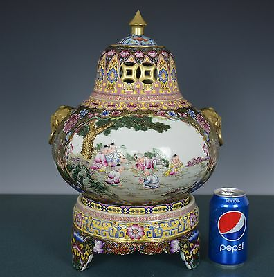 Magnificent Antique Chinese Famille Rose Porcelain Vase Marked Yongzheng Hj8398