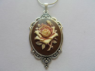 BROWN IVORY PAINTED ROSE LARGE HANDPAINTED CAMEO ROSE NECKLACE