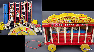 Fisher Price Circus Wagon 15in Wood 1962 Performers Ring Ladders near complete