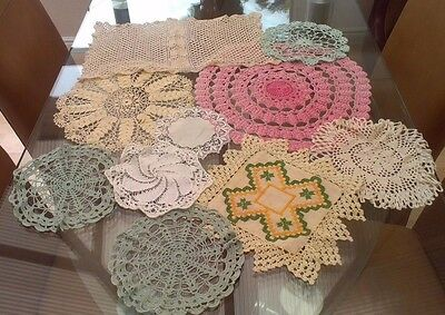 Job Lot 10 Vintage Hand Crocheted Cotton And Lace Doilies