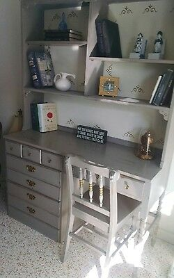 Vintage painted desk, bookcase and chair
