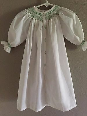 Antique Vintage Baby or Doll Smocked Dress hand sewn white green