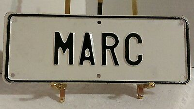 VINTAGE BICYCLE LICENSE PLATE MARC VANITY NAME PLATE BIKE MOTORCYCLE 1950s WHITE