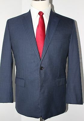 Brooks Brothers Milano Blue Stripe Wool Two Button Suit 40 S Slim 33 38 Flat