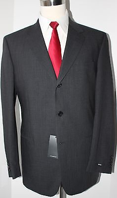 Hugo Boss Gray Solid Wool Three Button Suit Size 42 R 34 $695
