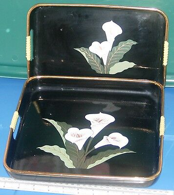 """Vintage Black Lacquer Tray Set of 2  10 3/4"""" square 10 5/8 x  7 1/8 Lillies"""