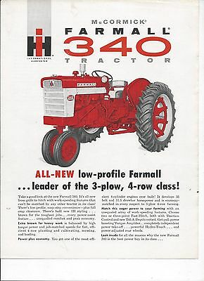 International Harvester 340 Tractor Dealers Sales Brochure IH 4 Pgs. Farmall