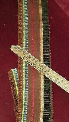 Antique ribbon from 1860s or 1870s France, woven with 10 colors over a yard RARE