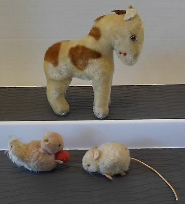 Vintage STEIFF/GERMANY 1960's Lot of 3 Animals MOHAIR HORSE, SQUIRREL, & MOUSE