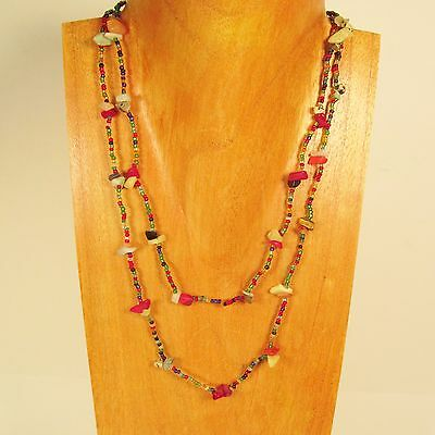 10PC Handmade Beaded Stone Chip Multi Strand Necklaces WHOLESALE LOT 10 Colors