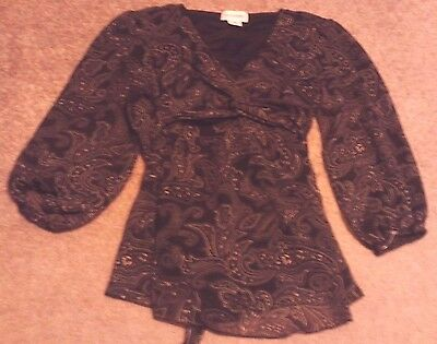 Ladies Motherhood Maternity Top Shirt Black Long Sleeve Size S Small