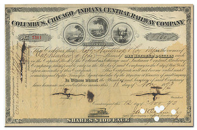 Columbus, Chicago and Indiana Central Railway Company Stock Certificate (1873)