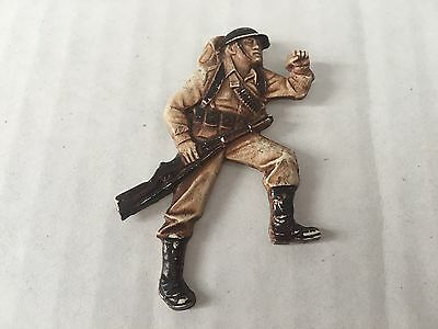 """Vintage 40s Celluloid Plastic WWII Military Soldier Pin 2-1/2 X 1-3/4"""""""