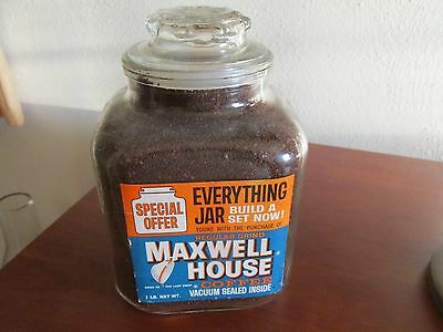 Old Maxwell House Glass Everything Jar With Paper Labels In Good Shape