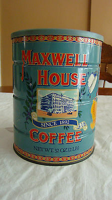 VTG REPRO. Maxwell House Tin Coffee Can, Good To The Last Drop, 2 lb. W/LID