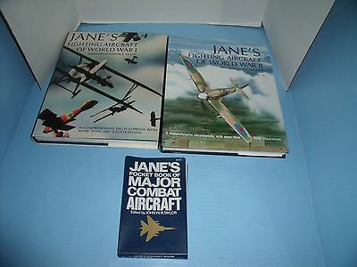 Military Lot Of 3 Jane's Fighting Aircraft Wwi Wwii Major Combat Aircraft